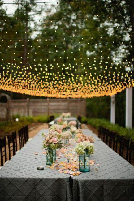 Decorar con luces un jardín para una fiesta