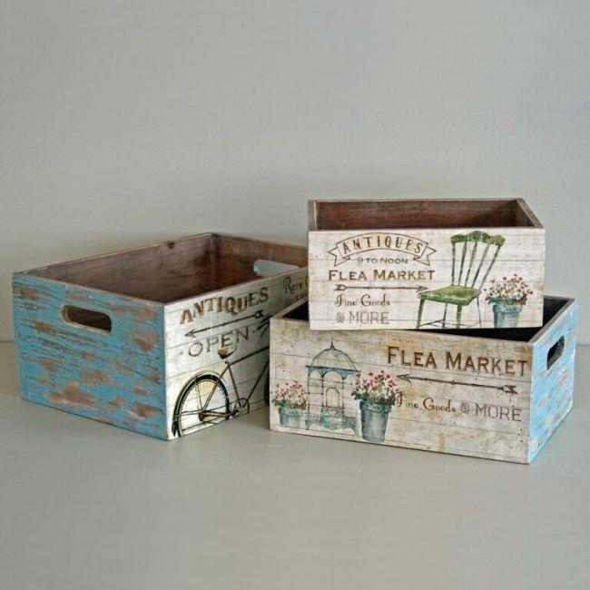 Caja de madera vintage flea market