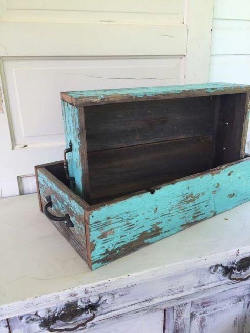 Cajas de madera con efecto desgastado