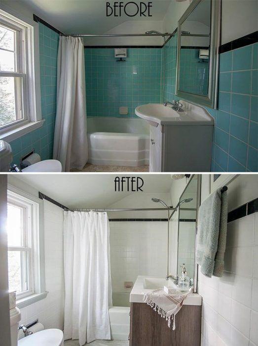 Antes y después de pintar azulejos de color blanco