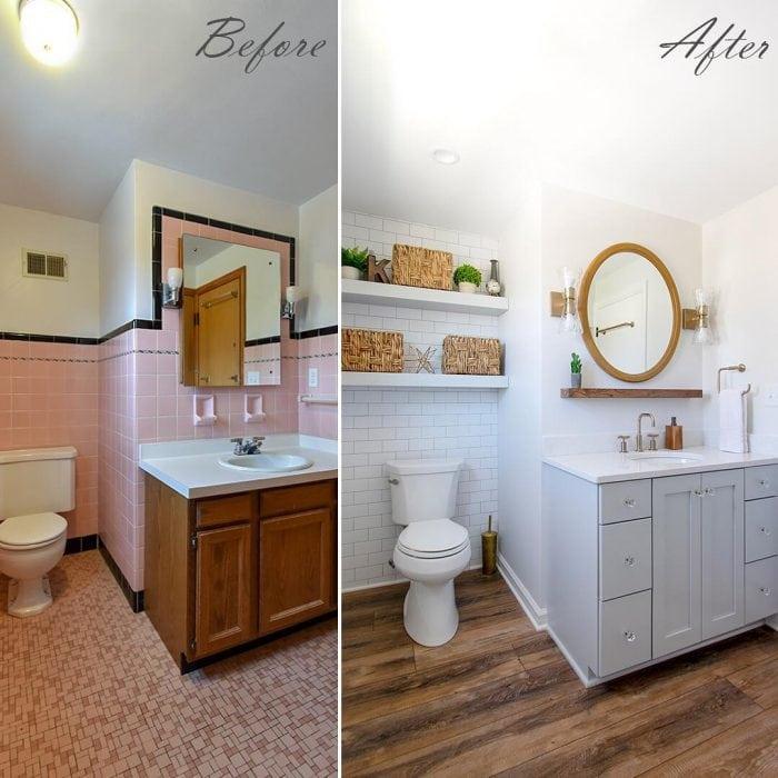 Antes y después de pintar los azulejos del baño