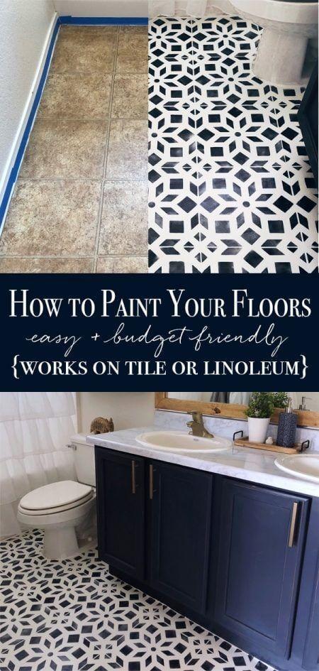 Pintar el suelo del baño con pintura y plantillas