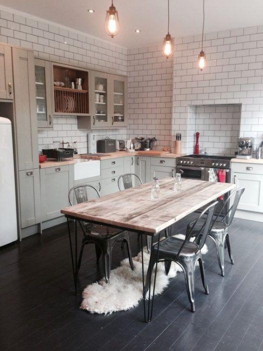 Mesa de cocina con patas hairpin