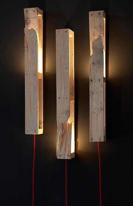 Lámparas verticales con palets