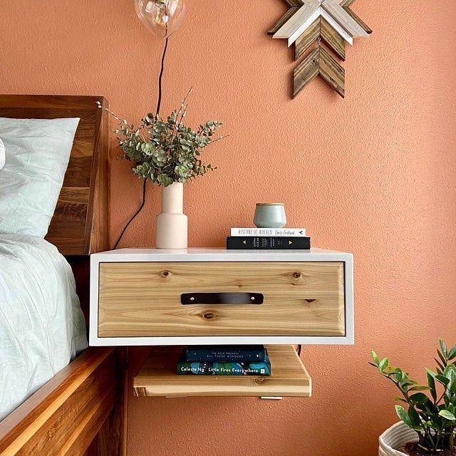 Mueble flotante con tirador de cuero